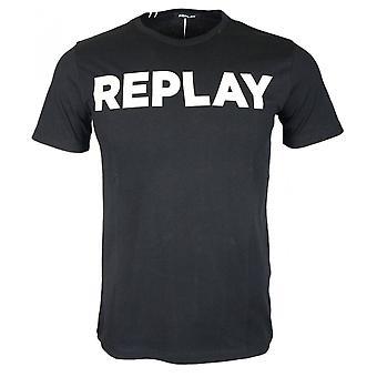 Replay Round Neck Block Logo Black T-shirt