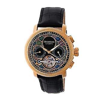 Heritor Automatic Aura Men's Semi-Skeleton Leather-Band Watch - Rose Gold/Black