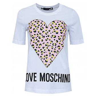 Liebe Moschino Leopard Herz Druck Boxy T-shirt