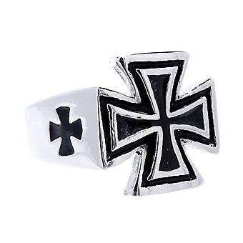 Ring iron cross gr. 58-70 - stainless steel