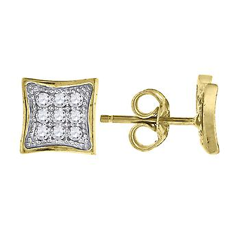 10k Yellow Gold Mens CZ Cubic Zirconia Simulated Diamond Cubic Zirconia Square Stud Earrings Measures 6.8x6.80mm Wide Je