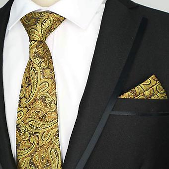 Gold paisley design necktie pocket square & tie set
