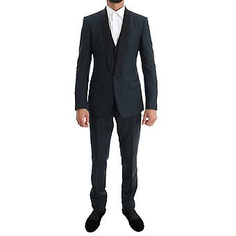 Dolce & Gabbana Blue Martini Wool Silk 3 Piece Suit