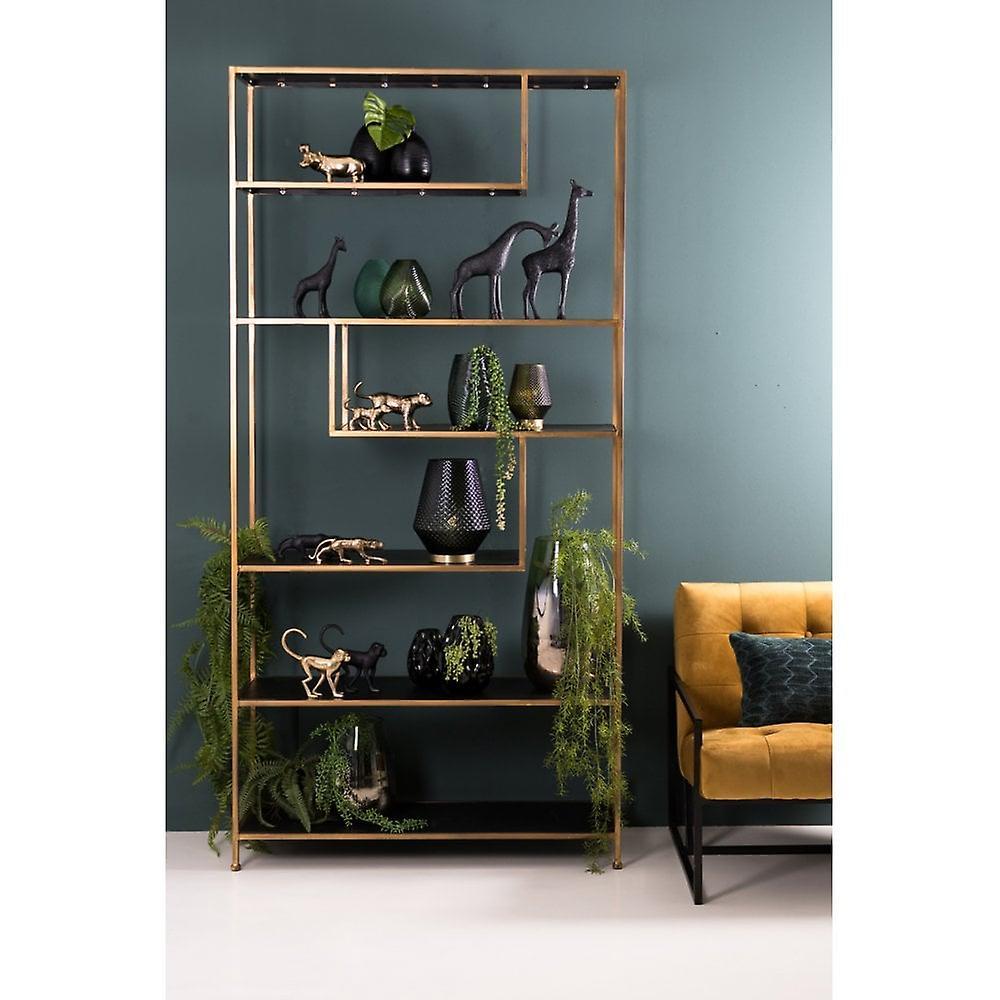 Light & Living Cabinet Open 100x35x203cm Ylaya Matted Black-Gold