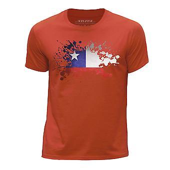 STUFF4 Boy's Round Neck T-Shirt/Chile/Chiliean Flag Splat/Orange
