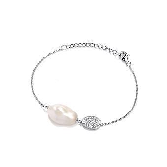 David Deyong Sterling Silver Baroque Pearl Cubic Zirconia Cluster Bracelet