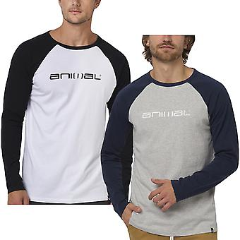 Animal Mens Action Long Sleeve Raglan Casual Crew Neck Cotton T-Shirt Tee Top