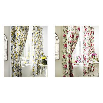 Furn Peony Vibrant Coloured Floral Pleat Curtains