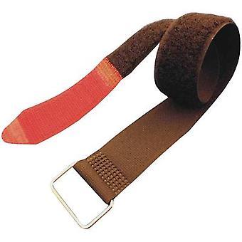 FASTECH® F101-38-600M Krok-och-slinga tejp med rem Krok och slinga pad (L x W) 600 mm x 38 mm Svart, Röd 1 st)