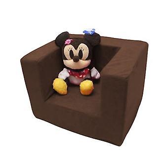Sillón de espuma marrón cómodo para niños