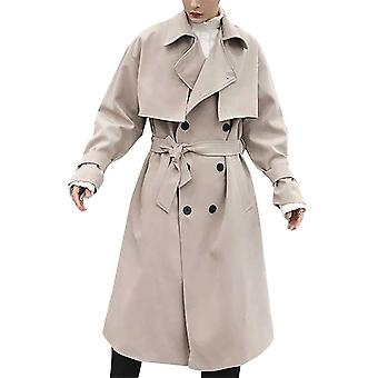 Allthemen Miehet's Rento Regular Fit Takki kaksirivinen Solid Windbreaker Coat
