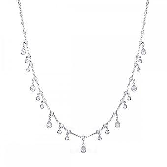 Diamonfire Silver & White Zirconia Multi Drop Necklace