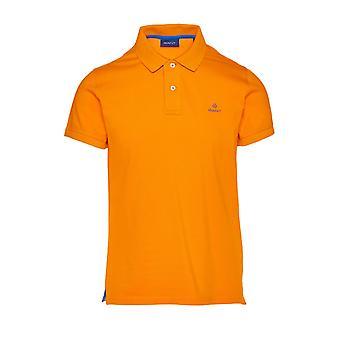 Gant Kontrast Kragen Pique Ss Rugger Polo Shirt Sunny Orange