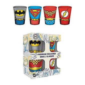 DC Benzi desenate Justice League Costume Shot de sticlă colorate 4-Pack
