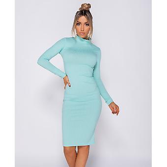 Rib Knit Polo Neck Long Sleeve Midi Dress - Mint