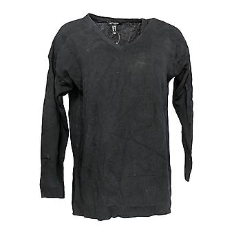 H by Halston Women's Sweater V-Neck Hi-Lo W/ Hem Pullover Black A310039