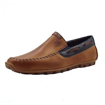 Rieker 08970-25 Garrit Mens Smart Casual Slip On Shoes In Brown