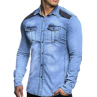 Allthemen Men's Long Sleeve Shirt Suede Spliced Denim Cotton Shirt