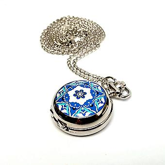 Blue and white floral vintage style mini pocket watch for woman