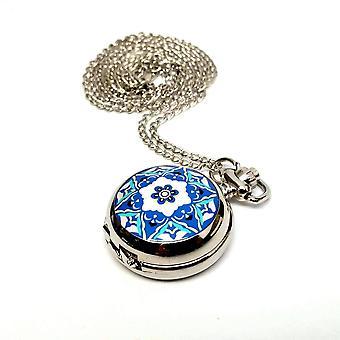 Orologio da tasca vintage floreale blu e bianco per donna