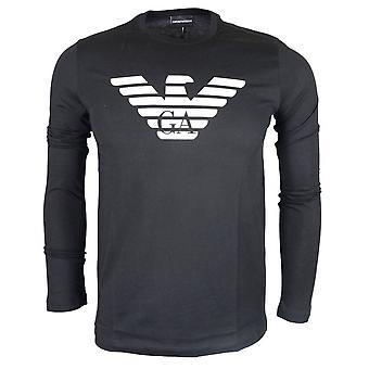 Emporio Armani Cotton Round Neck Printed Black Long Sleeve T-shirt