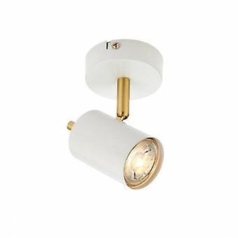 1 licht Spotlight Mat witte verf, satijn geborsteld goud