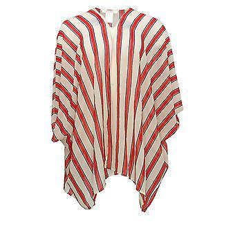 K Jordan Women's Plus Sweater Kimono Style Cardigan w/ Striped Pattern Red