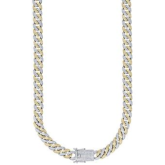 925 Sterling Silver Yellow Tone Mens CZ Cubic Zirconia Simulated Diamond Miami Curb Chain 12mm 24 Inch Jewelry Gifts for