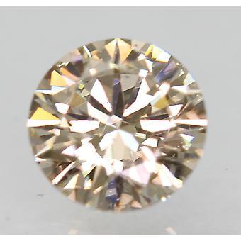Cert 0.70 Carat Light Brown VVS1 Round Brilliant Natural Loose Diamond 5.77m 3EX