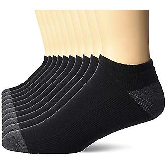 Essentials Men's 10-Pack Cotton Half Cushioned No-Show Socks, Black, S...