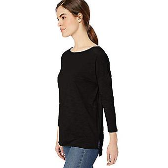 Marca - Daily Ritual Women's Lightweight Lived-In Cotton 3/4-Sleeve Drop-Shoulder Tunic, Preto,Grande