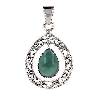 ADEN 925 Sterling Silver Apatite Drop Shape Hangketting (id 3886)