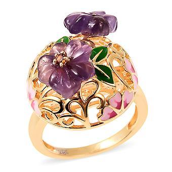 Amethyst Flower Ring Sterling Argent Or Jaune Plaqué Grenat, 4.2 Ct TJC