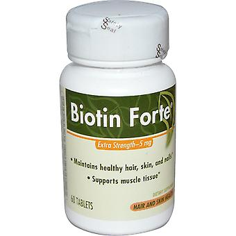 Enzymatic Therapy, Biotin Forte, Extra Strength, 5 mg, 60 Tablets