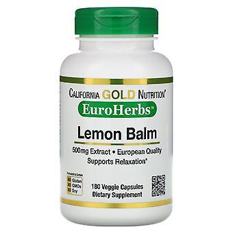 California Gold Nutrition, Lemon Balm Extract, European Qualtity, 500 mg, 180 Ve