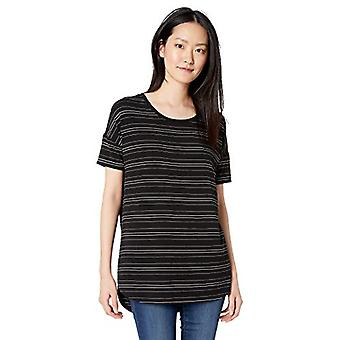 Brand - Daily Ritual Women's Jersey Rib Trim Drop-Shoulder Short-Sleeve Scoop Tunic, Black-White Stripe, Small