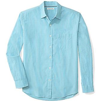 Essentials Men's Regular-Fit Long-Sleeve Casual Poplin Shirt, Aqua Mini-Gingham, XX-Large