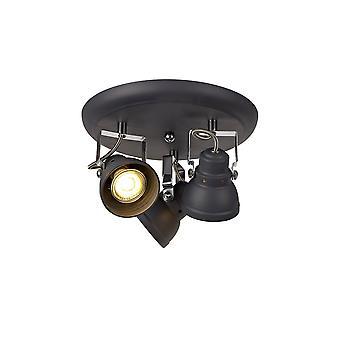Luminosa Beleuchtung - Einstellbarer Runder Scheinwerfer, 3 x GU10 (Max 10W LED), Matt Grey, polierter Chrom