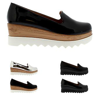Womens Wedge Heel Slip On Cleated Sole Chic Fashion Pumps Summer Shoes UK 3-10