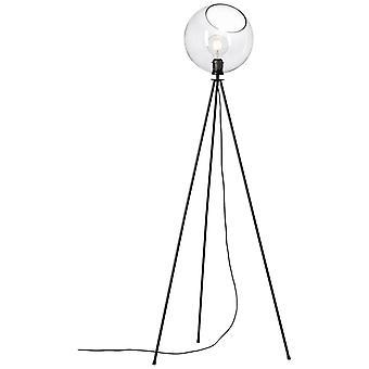 Lâmpada de piso afton brilhante de três pernas luzes internas pretas/transparentes, luzes do chão,-três-pernas | 1x A60, E27, 40W, adequado