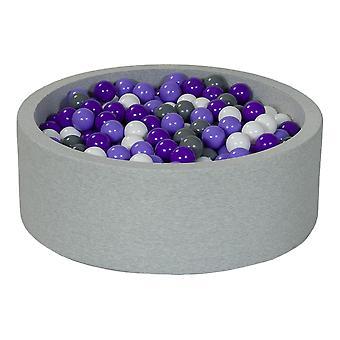 Poço de bola 90 cm com 450 bolas brancas, cinza e roxas