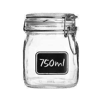 Bormioli Rocco Lavagna Glass Storage Jar with Chalkboard Label - Food Pasta Jam Preserving Container - 750ml