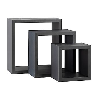 Square Floating Box Wall Shelf Planken - 3 verschillende maten - Grijs - Set van 3