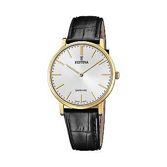 Festina Swiss F20016-1 Men's Swiss Made Gold Tone Case Black Leather Wristwatch