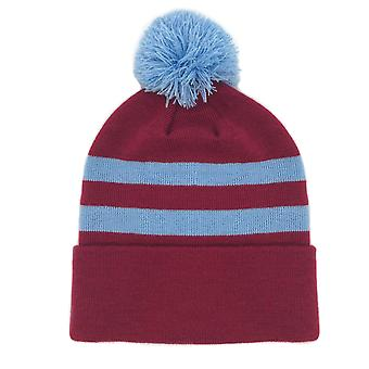 fan originals Retro Football Bobble Hat in Burnley Colours Claret Blue