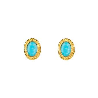 Gold Gemstone Birthstone Stud Boucle d'oreille Décembre Turquoise Light Blue Small Gift