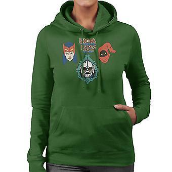 She-Ra Princess Of Power Character Heads Women's Hooded Sweatshirt