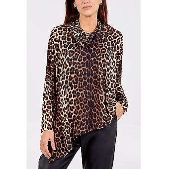 Marnie Asymmetrical Cowl Neck Leopard Top | One Size