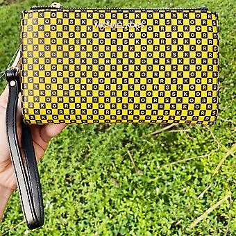 Michael kors jet set large double zip wristlet new york city yellow taxi