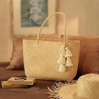 Borneo Sani Straw Tote Bag - With Tassels
